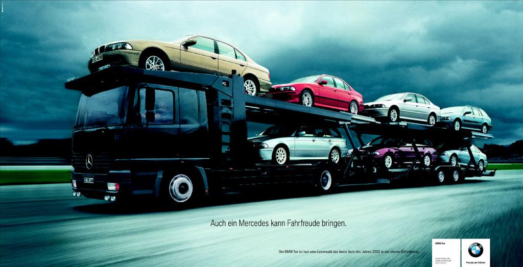 BMW advertentie: auch ein Mercedes kann Fahrfreude bringen