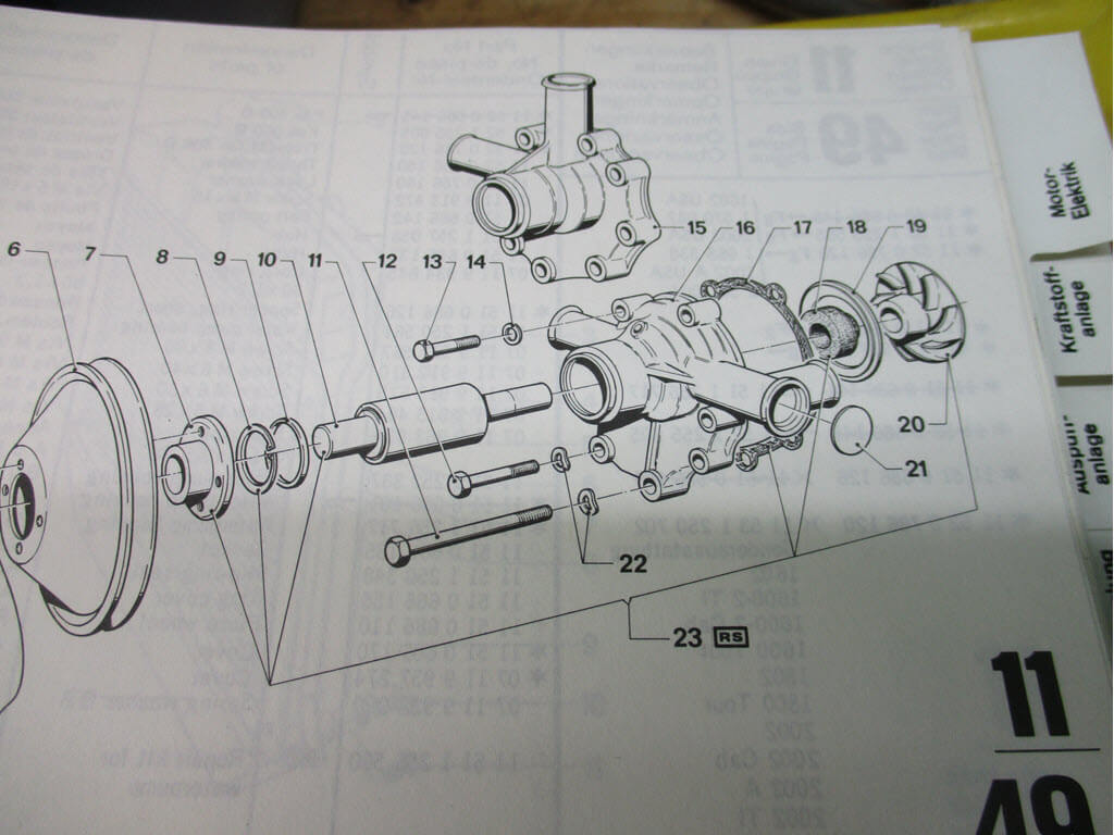 Diagram waterpomp BMW 2002