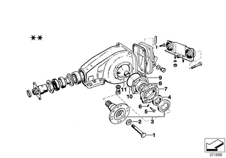 Onderdelentekening differentieel BMW 2002