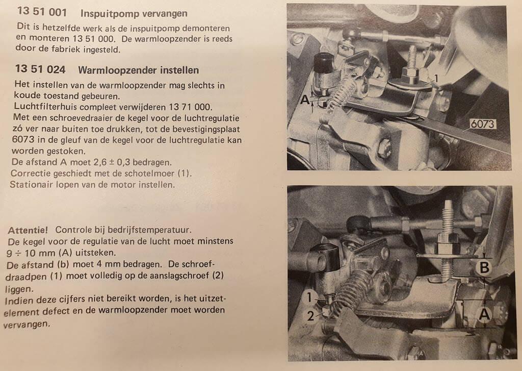warmloopregelaar instellen werkplaatshandboek bmw 2002tii